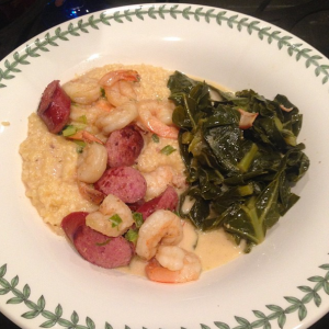 Shrimp & grits with collard greens. Drool worthy.
